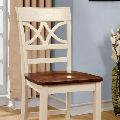 Torrington II Cottage Counter Height Chair With Wooden Seat, Vintage White & Oak, By Casagear Home