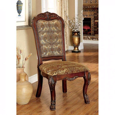 Medieve Traditional Side Chair, Cherry Finish, Set Of 2 By Casagear Home