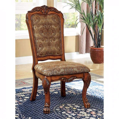Medieve Traditional Side Chair, Antique Oak Finish, Set Of 2 By Casagear Home