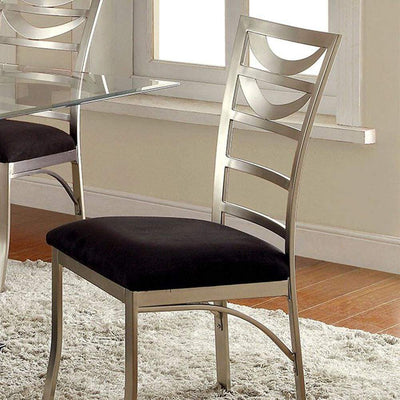 Roxo Contemporary Side Chair With Black Micro Fabric Cushion, Set of 2 By Casagear Home