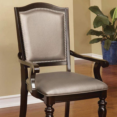 Harrington Transitional Arm Chair With PVC, cherry, Set of 2