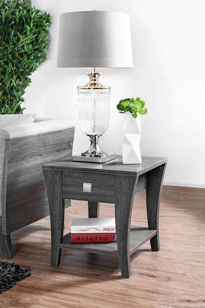 Wooden End Table with Swooping Curled Legs, Gray By Casagear Home