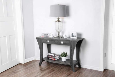 Wooden Sofa Table with Swooping Curled Legs, Gray By Casagear Home