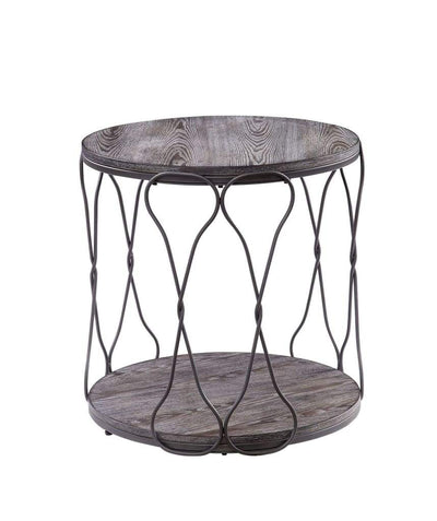 Round Industrial Style Metal and Solid Wood End Table with Open Bottom Shelf, Gray and Brown - CM4171E