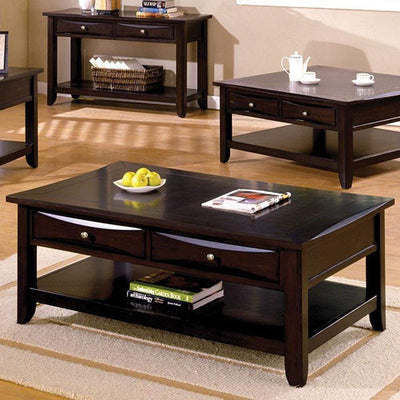 Baldwin Coffee Table Contemporary Style, Expresso Brown Finish By Casagear Home