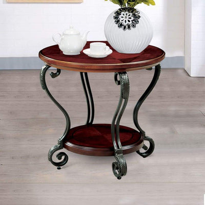 May End Table Transitional Style, Brown Cherry Finish By Casagear Home