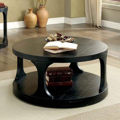 Carrie Transitional Coffee Table, Antique Black By Casagear Home