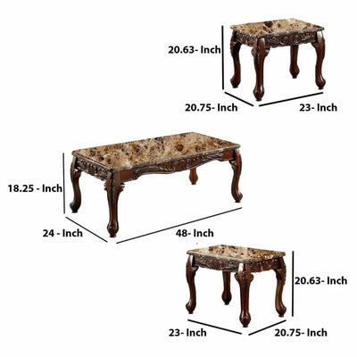 3 Piece Table Set With Marble Table Top Dark Oak Brown FOA-CM4487-3PK