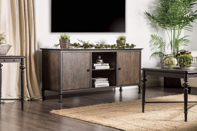 "60"" Wooden And Metal Frame TV Stand With 2 Open Shelves, Brown By Casagear Home"