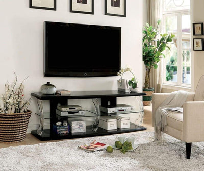 "72"" Wooden TV Stand With Spacious Glass Shelf, Black And Clear By Casagear Home"
