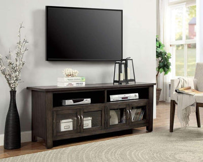 "60"" Wooden TV Stand With 2 Cabinets and 2 Open Shelves In Brown By Casagear Home"