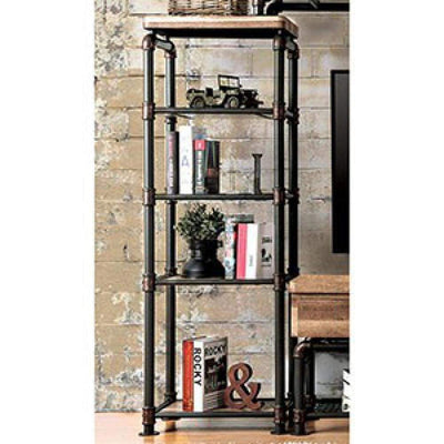 Kebbyll Industrial Style Pier Cabinet, Antique Black By Casagear Home