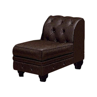 Stanford II Armless Sofa Chair, Brown Leatherette By Casagear Home
