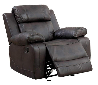 Leather Upholstered Glider  Recliner Chair, Brown By Casagear Home