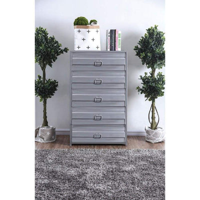 Industrial Style 5 Drawer Metal Chest with Spacious Storage, Gray - CM7075C