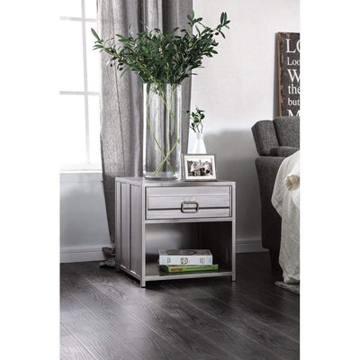Industrial Style Metal Nightstand with Drawer and Bottom Shelf, Gray - CM7075N