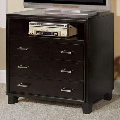 3 Drawer And 1 Open shelved Contemporary Media Chest, Espresso Brown By Casagear Home