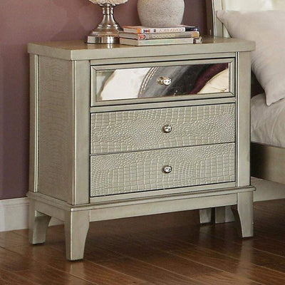 Contemporary Style Wooden Nightstand With Three Drawers Silver FOA-CM7282N