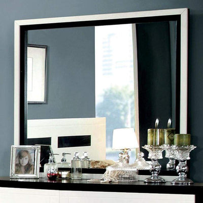 Rutger Contemporary Mirror, White/Black By Casagear Home