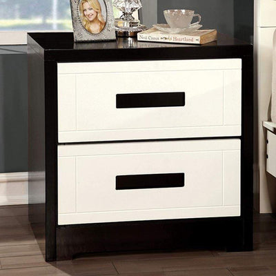 Rutger Contemporary Style Nightstand, White & Black By Casagear Home