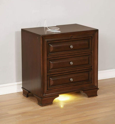 Wooden Night Stand With 3 Drawers In Cherry Brown By Casagear Home