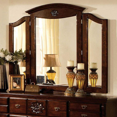 Tuscan II Traditional Style Tri-Fold Mirror , Dark Pine By Casagear Home