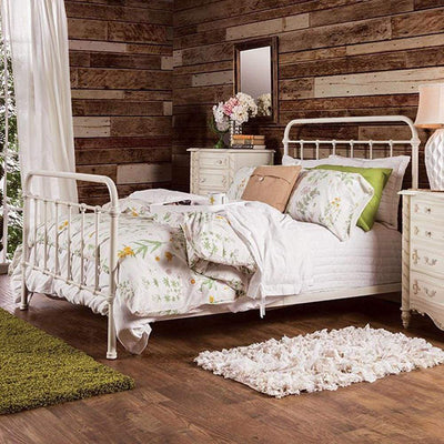 Contemporary Metal Twin Bed in Vintage White By Casagear Home