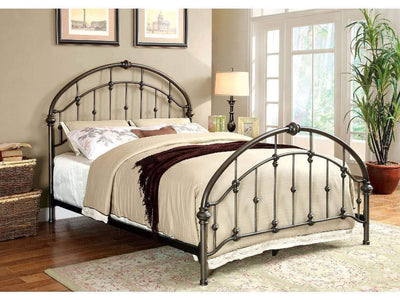 Contemporary Metal Full Bed With Round Headboard And Footboard, Brushed Bronze Gray By Casagear Home