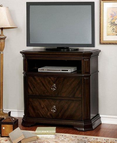 Media Stand with Clipped Corner And Trim Espresso Brown By Casagear Home FOA-CM7751TV