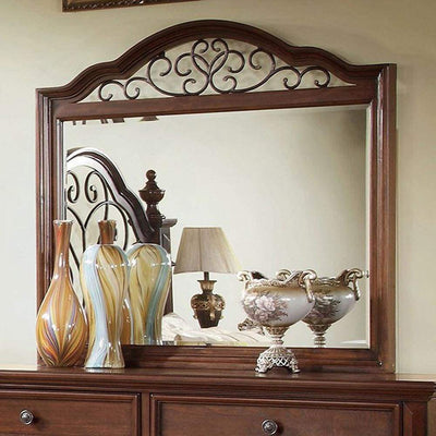 Landaluce Antique Dark Oak Metal Design Mirror By Casagear Home