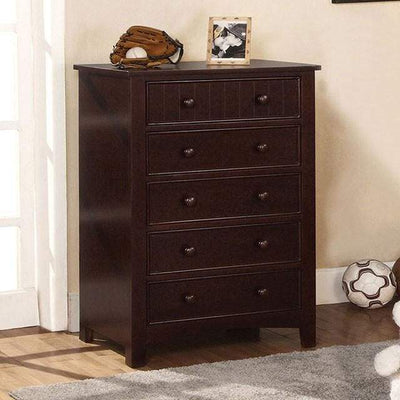 5 Drawer Transitional Chest, Dark Walnut Brown By Casagear Home