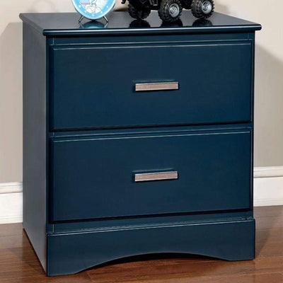 Transitional 2 Drawers Wooden Night Stand With Metal Handles, Glossy Blue By Casagear Home