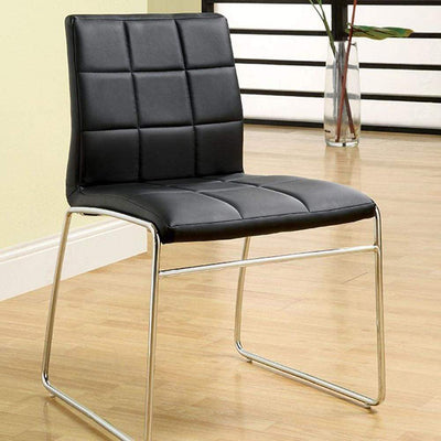 Oahu Contemporary Side Chair With Steel Tube, Black Finish, Set of 2 By Casagear Home