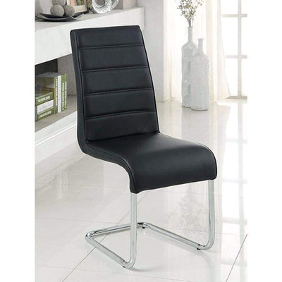 2 pc Mauna Contemporary Black Side Chair With Steel Tube By Casagear Home