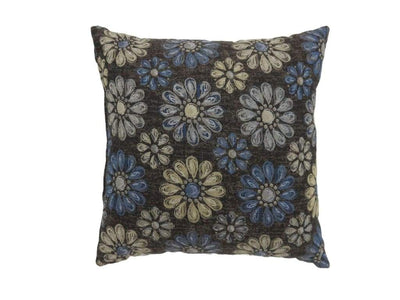 Contemporary Style Floral Designed Set of 2 Throw Pillows, Navy Blue By Casagear Home