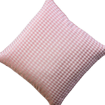 Contemporary Style Set of 2 Throw Pillows With Houndstooth Patterns Rose Pink By Casagear Home FOA-PL8003-2PK