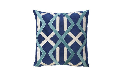 Contemporary Style Set of 2 Throw Pillows With Geometric Patterns, Blue By Casagear Home