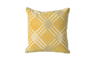 Contemporary Style Set of 2 Throw Pillows With Diamond Patterns, Silver, Gold By Casagear Home