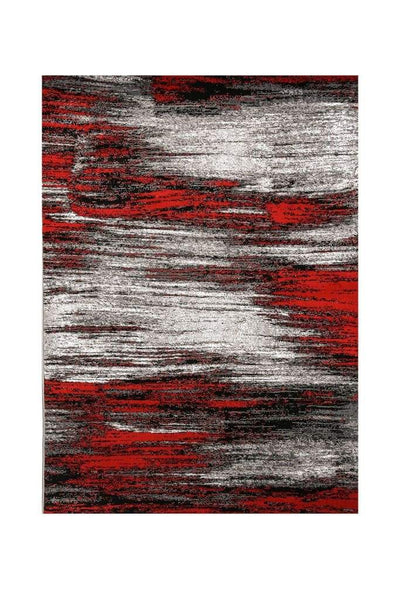 Shaded Patterned Area Rug In Polyester With Jute Mesh, Small, Red and Gray By Casagear Home