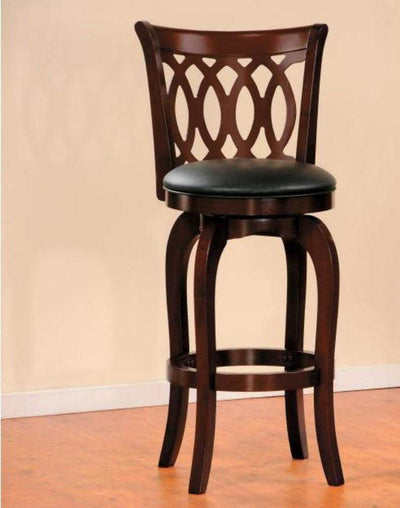 Wooden Pub Chair With Padded Upholstery In Cherry Brown HME-1133-29S