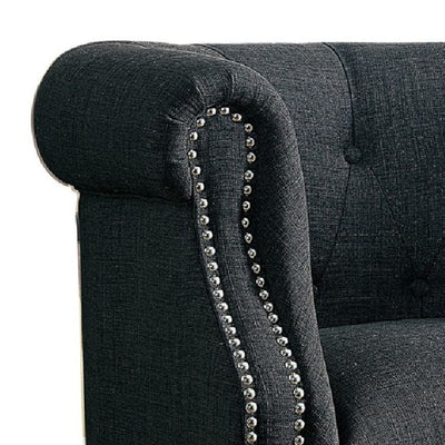 Nail Head Trim Accent Chair In Wood Gray HME-1220F1S