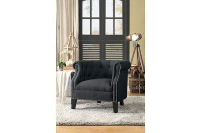 Nail Head Trim Accent Chair In Wood Gray
