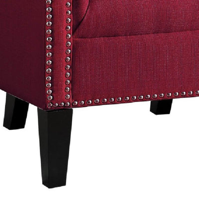 Transitional Polyester Upholstered Button Tufted Accent Chair with Nail Head Trim Red - 1220F2S HME-1220F2S