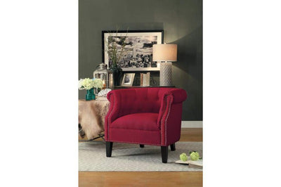 Transitional Polyester Upholstered Button Tufted Accent Chair with Nail Head Trim, Red - 1220F2S