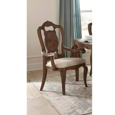 Leatherette Upholstered Wooden Arm Chair with Scrolled Crown Brown and Cream Set of Two - 1704A HME-1704A