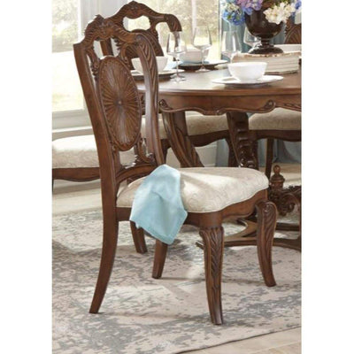 Leatherette Upholstered Wooden Side Chair with Scrolled Crown Brown and Cream Set of Two - 1704S HME-1704S