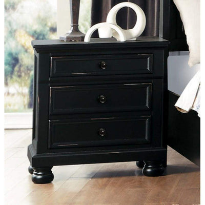 Transitional Style Two Drawer Wooden Night Stand with Round Bun Legs, Black - 1714BK-4