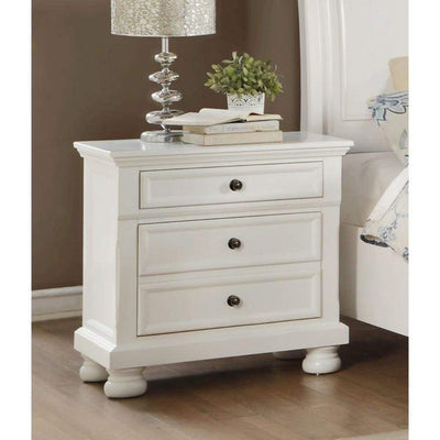 Transitional Style Two Drawer Wooden Night Stand with Round Bun Legs, White - 1714W-4