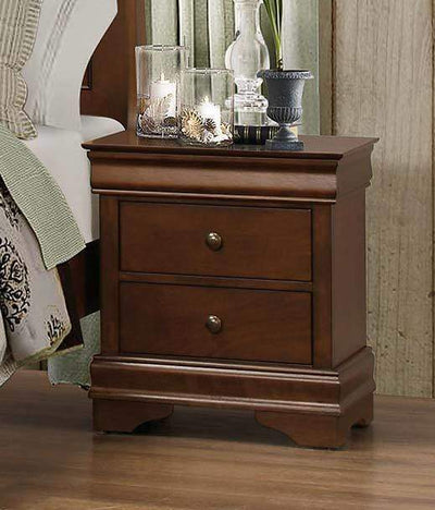 2 Drawer Nightstand with Hidden Drawer, Brown By Benzara
