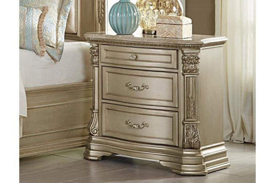 3 Drawer Wooden Night Stand With Marble Top, Champagne Gold